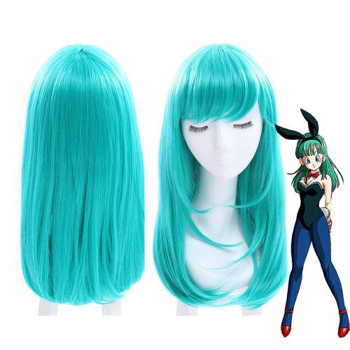 Anime Dragon Ball Bulma Cosplay Green Long Wigs