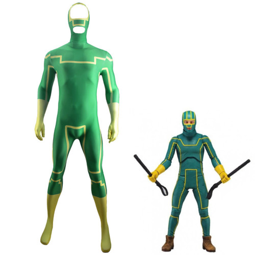 [Kids/Adults] Kick-Ass Green Zentai Costume Halloween Unisex Jumpsuit Costume Outfit