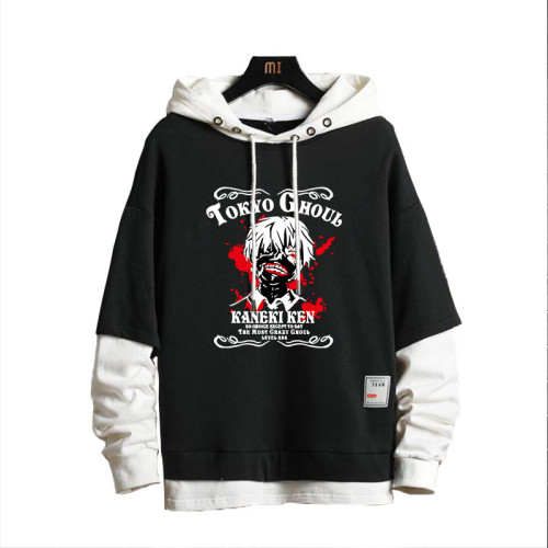 Anime Tokyo Ghoul Merch Fake Two Piece Hoodies Street Style Youth Adults Cool Tops
