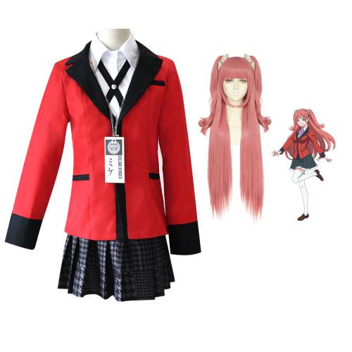 Anime Kakegurui Compulsive Gambler Yumemi Yumemite Cosplay Costume Uniform With Wigs Set Halloween Festival Costume