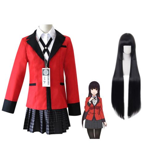 Anime Kakegurui Compulsive Gambler Yumeko Jabami Cosplay Uniform + Wigs Set Halloween Cosplay Costume