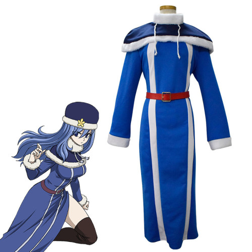Anime Fairy Tail Juvia Lockser Cosplay Costume With Hat Halloween Party Costume