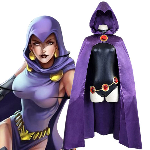 [Kids/Adults] Teen Titans Raven/Pride Cosplay Costume With Cloak Halloween Costume Outfit