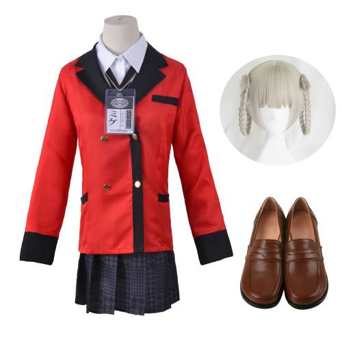 Anime Kakegurui Compulsive Gambler Kirari Momobami Whole Set Cosplay Costume Uniform +Wigs+Shoes