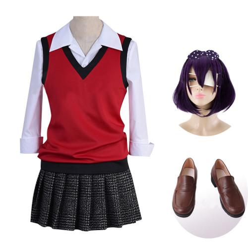 Anime Kakegurui Compulsive Gambler Midari Ikishima Costume + Wigs+Shoes Cosplay Costume Whole Set