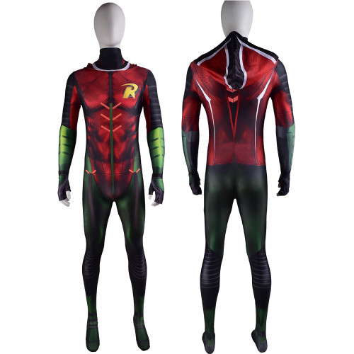[Kids/Adults] Teen Titans Nightwing Robin Zentai Costume With Red Hood Halloween Cosplay Jumpsuit