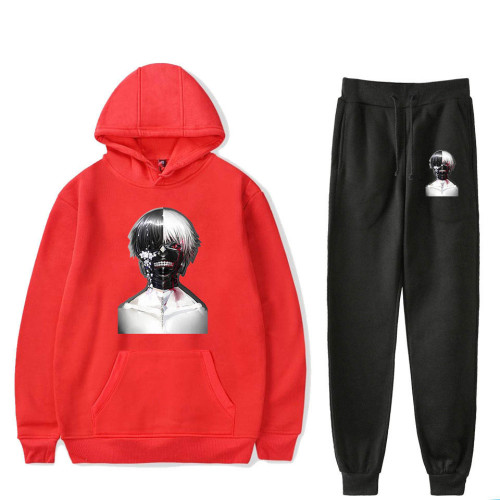 Anime Tokyo Ghoul Merch Unisex Sweatsuit Casual Hoodie and Sweatpants Set Unisex Fleece Sports Suit