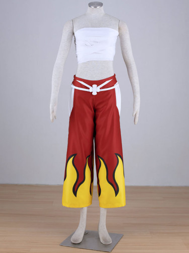 Anime Fairy Tail Erza Scarlet Red Costume Top and Pants Set Halloween Cosplay
