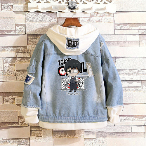 Anime Tokyo Ghoul Merch Unisex Cool Denim Jacket Fake Two Piece Hooded Jacket Coat Streetwear Outfit