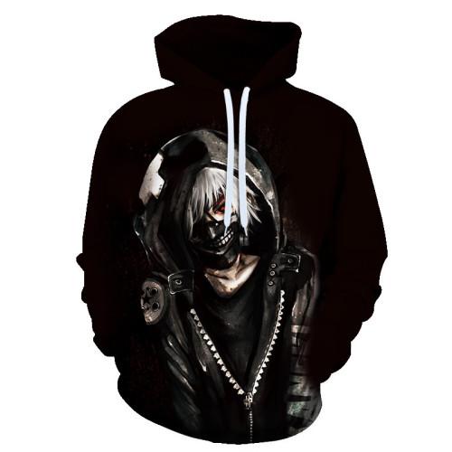 Anime Tokyo Ghoul 3-D Ken Kaneki Hoodie Trendy Pullover Hooded Sweatshirt