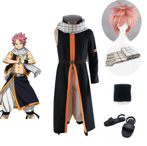Anime Fairy Tail Etherious Natsu Dragneel Cosplay Costume+Wigs+Shoes Full Set Halloween Costume