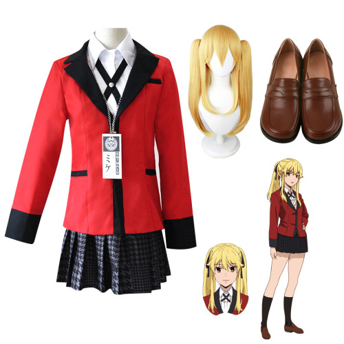 Anime Kakegurui Compulsive Gambler Mary Saotome Costume+Wigs+Shoes Cosplay Outfit Halloween Cosplay Costume