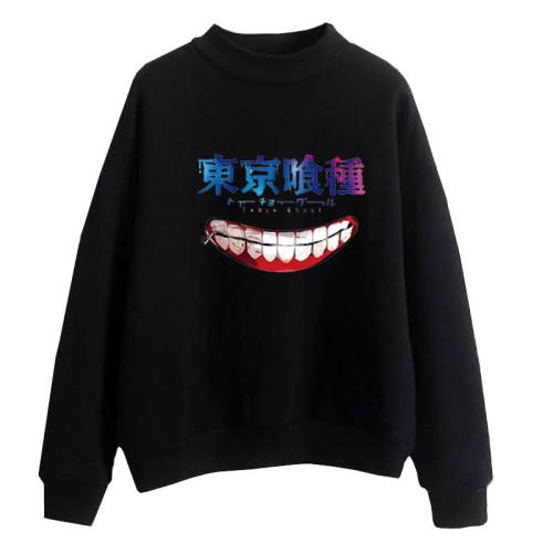 Anime Tokyo Ghoul Turtle Neck Sweatshirt Long Sleeve Unisex Pullover Streetwear Tops