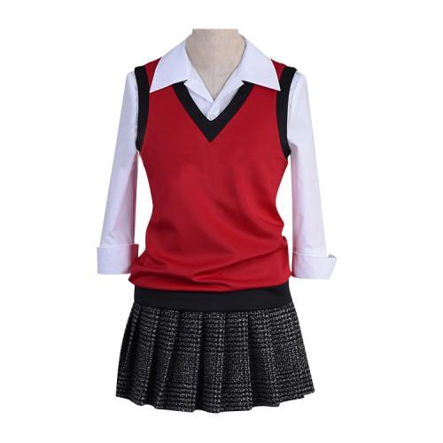 Anime Kakegurui Compulsive Gambler Midari Ikishima Costume Uniform With Wigs and Props Set Halloween Party Cosplay Outfit