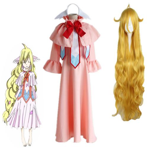 Anime Fairy Tail Mavis Vermilion Cosplay Costume Full Set Dress+Wigs Halloween Party Cosplay Costume