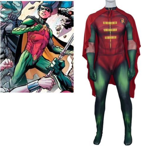 [Kids/Adults] Teen Titans Robin Red Zentai Costume With Cloak Halloween Cosplay Costume