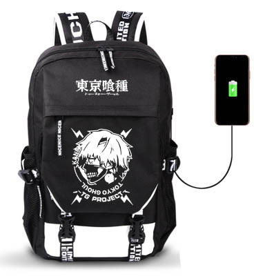 Anime Tokyo Ghoul Merch Stundents School Backpack Travel Backpack With USB Charging Interface
