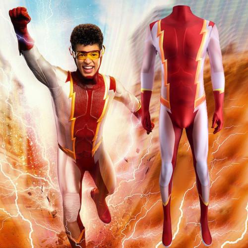 [Kids/Adults] Teen Titans Impulse Kid Flash Zentai Costume Bart Allen Halloween Jumpsuit Costume
