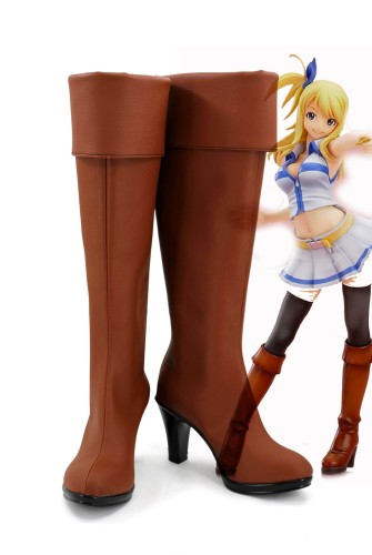 Anime Fairy Tail Lucy Heartfilia Cosplay Boots Brown Cosplay Shoes