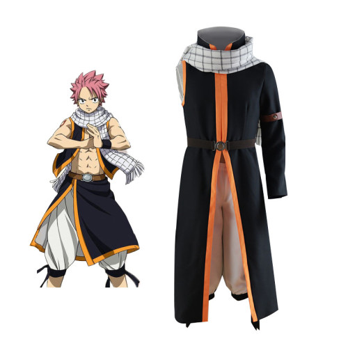 Anime Fairy Tail Etherious Natsu Dragneel Cosplay Costume Full Set With Scarf and Wigs Halloween Full Set Outfit