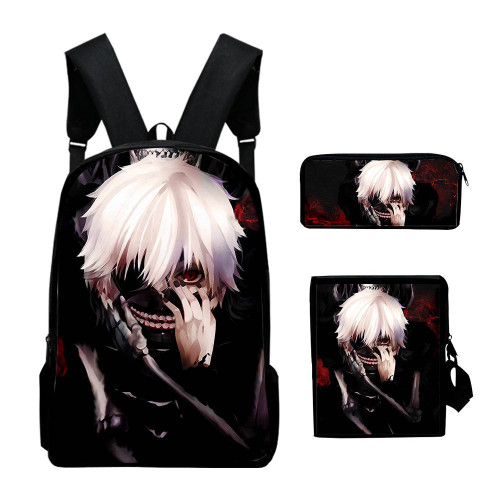 Anime Tokyo Ghoul Backpack Set Students Backpack with Cross Body Bag and Stationery bag