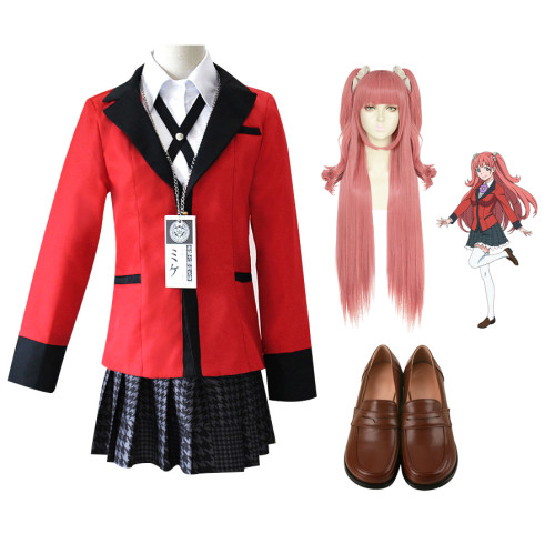 Anime Kakegurui Compulsive Gambler Yumemi Yumemite Uniform Costume+Wigs+Shoes Full Set Cospaly Costume