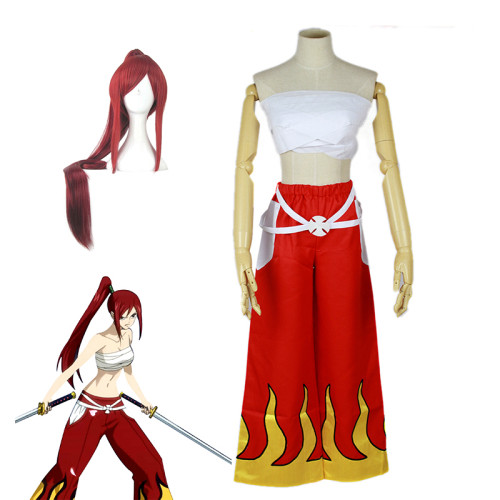 Anime Fairy Tail Erza Scarlet Red Costume With Wigs Full Set Halloween Party Cosplay Costume Outfit