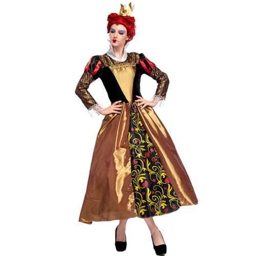 Alice in Wonderland The Red Queen Classic Costume With Crown Halloween Cosplay Outfit