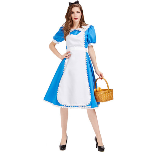 Alice in Wonderland Alice Costume Blue and White Maid Dress Costume Halloween Party Women Dress