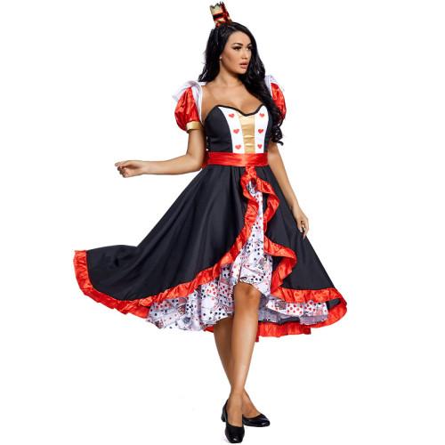 Alice in Wonderland The Red Queen Big Skirt Costume Women Halloween Cosplay Dress