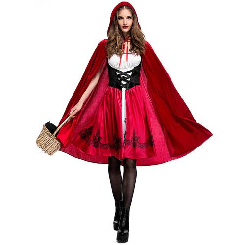 Little Red Riding Hood Female Halloween Costume Dress With Cloak XS-3XL