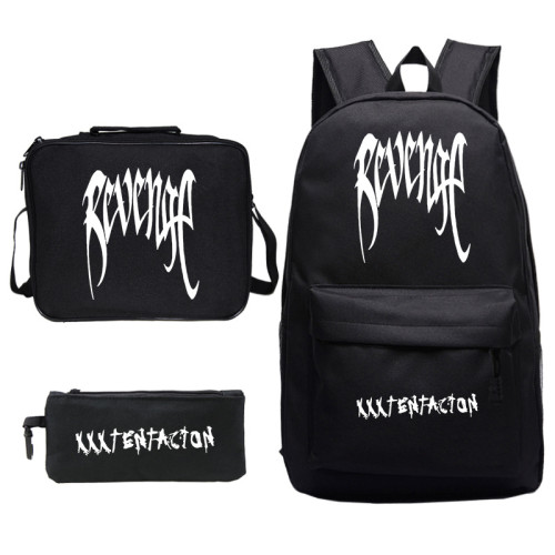 XXXtentacion Rrvenge Backpacks Set 3pcs Backpack With Lunch Box Bag and Pencil Bag Set For Students