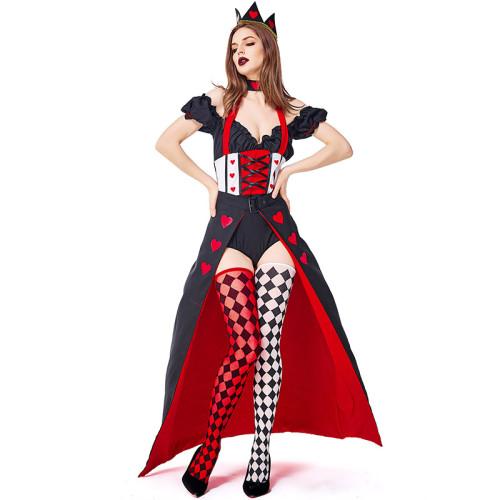 Alice in Wonderland Red Queen Women Dress Costume  Full Set With Socks High Split Halloween Cosplay Dress