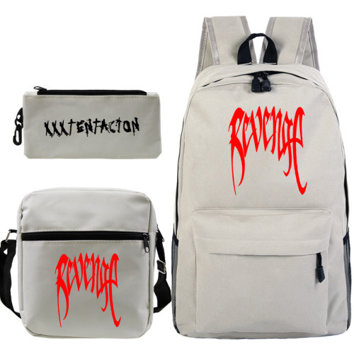 XXXtentacion Rrvenge Backpacks Set 3pcs Galaxy Color Backpack With Lunch Box Bag and Pencil Bag Set For Girls Boys