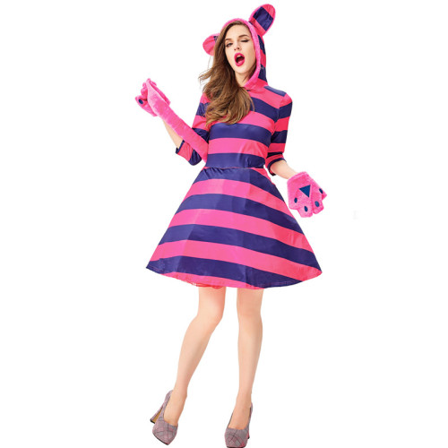 Alice in Wonderland Cheshire Cat Hooded Female Dress With Tail Costume Halloween Party Cosplay Outfit