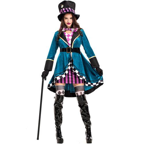 Alice in Wonderland Mad Hatter/Tarrant Hightopp Cosplay Dress Women Girls Halloween Costume +Hat+Socks+Gloves