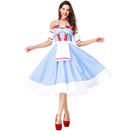 The Wizard of Oz Dorothy Gale Cosplay Dress Off Shoulder Party Dress Halloween Cosplay Outfit