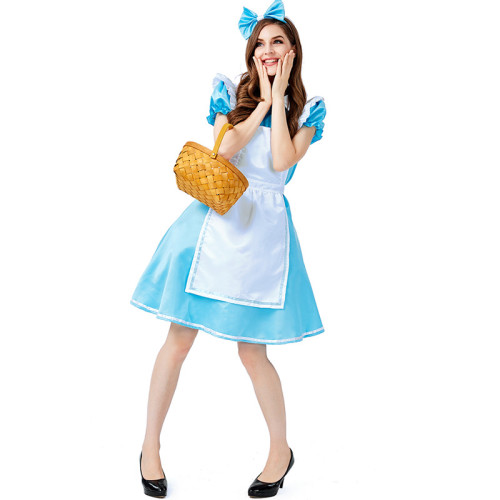 Alice in Wonderland Alice Costume Dress Blue and White Halloween Women Cosplay Dress