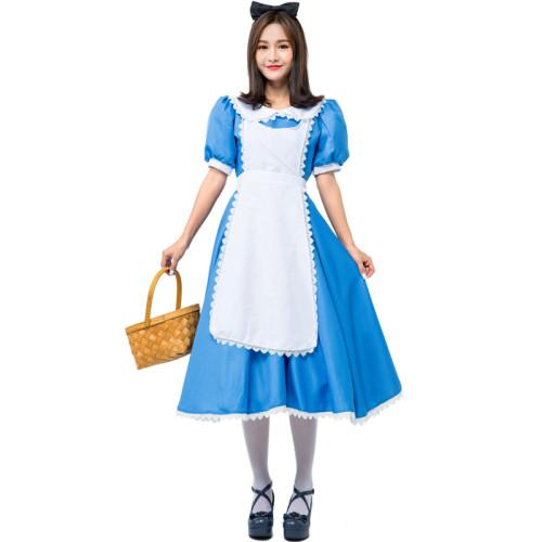 Alice in Wonderland Alice Costume Blue Maid Cosplay Costume For Women Girls