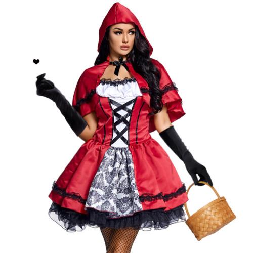 2021 New Little Red Riding Hood Halloween Cosplay Dress Mesh Dress With Hood Halloween Festival Party Dress