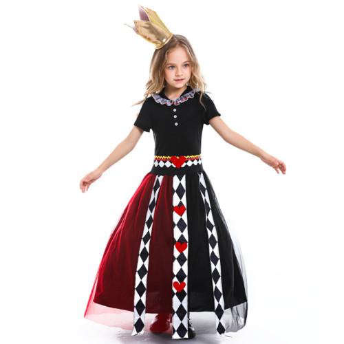 Alice In Wonderland Kids Red Queeen Costume Dress Halloween Girls Cosplay Outfit