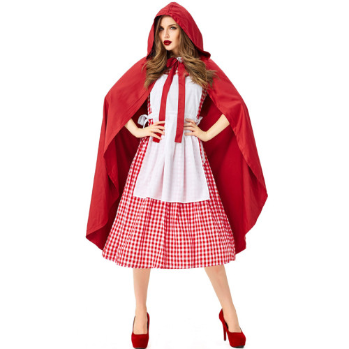 Little Red Riding Hood Women Costume Dress With Cloak Halloween Party Outfit