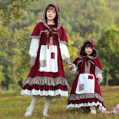 2021 New Little Red Riding Hood Adults Kids Costume Family Matching Costume With Hood