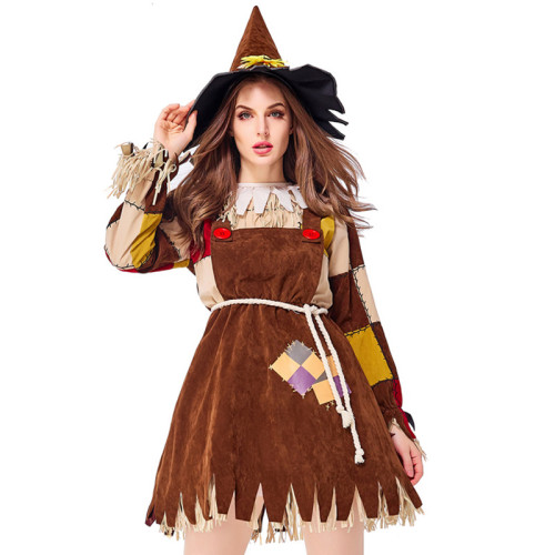 The Wizard of Oz Scarecrow Costume Women Halloween Cosplay Outfit Party Performance Costume