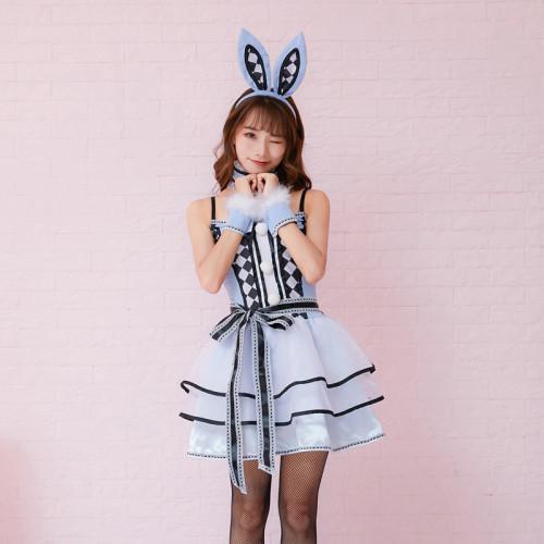 Alice in Wonderland White Rabbit Costume Women Cosplay Dress With Headwear