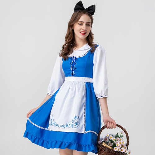 Alice in Wonderland Alice Costume Farm Girls Blue and White Cosplay Dress Hallowee Party Costume
