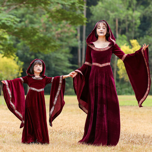 Little Red Riding Hood Medieval Vintage Palace Dress Costume Family Macth Costume Girls Women Halloween Party Outfit