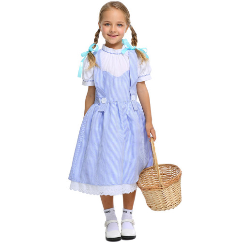 The Wizard of Oz Dorothy Gale Kids Costume Dress Girls Halloween Cosplay Dress