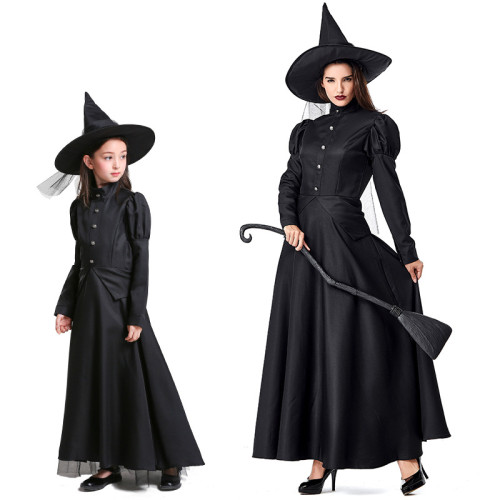 [Kids/Adults]The Wizard of Oz Witch Costume Black Halloween Cosplay Dress Performance Costume