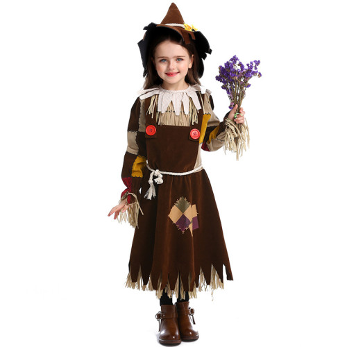 The Wizard of Oz Scarecrow Kids Costume Girls Boys Halloween Costume Performance Costume